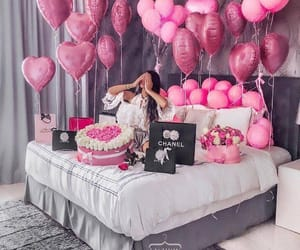 pink, balloons, and flowers image