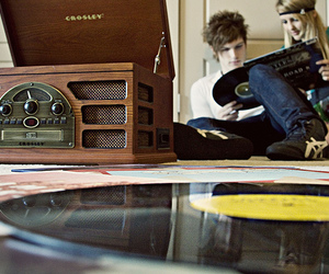 couple, music, and record image