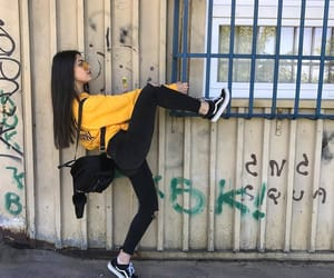girl, vans, and yellow image