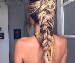 blonde, braids, and boho image