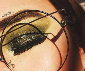 eyes, green, and glitters image