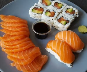 dinner, food, and sushi image