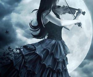 dark, moon, and violin image