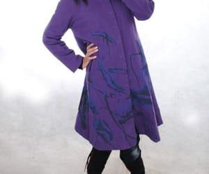 etsy, long coat, and purple coat image