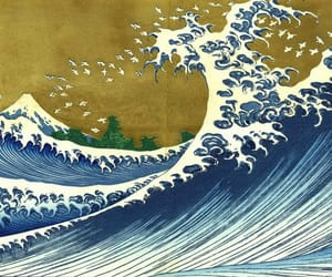 art, sea, and waves image