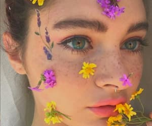 beauty, eyes, and flowers image