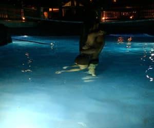 couple, pool, and night image