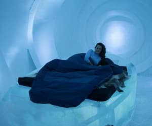 bed, blue, and frozen image