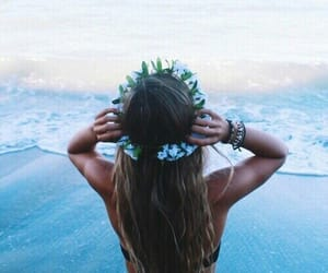 beach, crown, and flower image