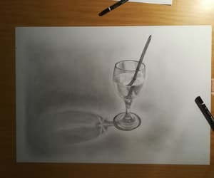 drawing, glass, and greyscale image