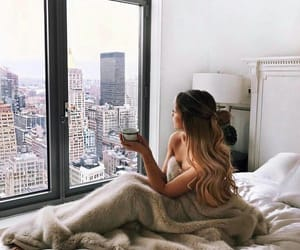 girl, morning, and city image