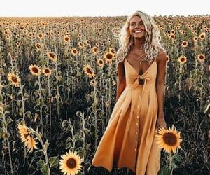 dress, sunflower, and girl image