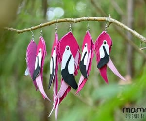 birds, pink earrings, and flamingo party image