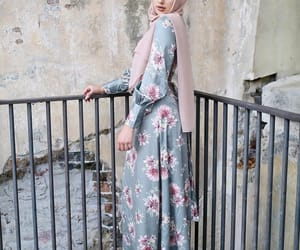 beauty, long dress, and floral dress image