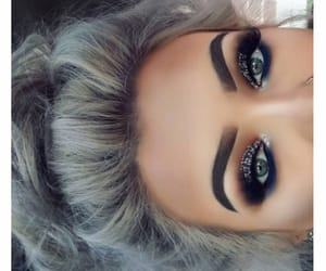 makeup, hair, and eyebrows image
