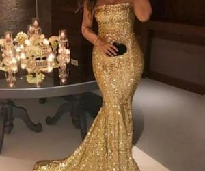 fashion, strapless prom dress, and sequin dress image