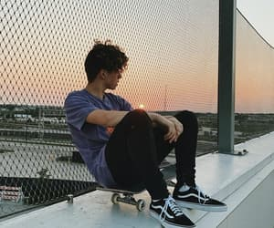 jack avery, sunset, and skateboard image