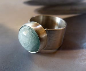 etsy, one of a kind, and aquamarine ring image