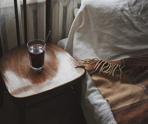 bed, bedroom, and drinks image