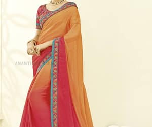 double colour, satin material saree, and embroider border image