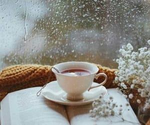 tea, book, and rain image