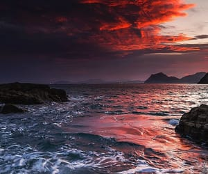 sky, sunset, and sea image