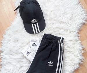 adidas, black and white, and basic image