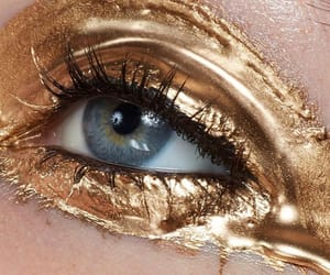 makeup, aesthetic, and gold image