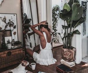 girl, room, and plants image