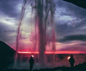sunset, sky, and waterfall image