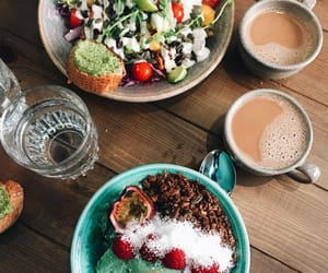 healthy, girl cute fashion, and smoothie bowl image