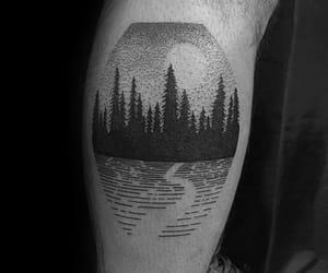 black and grey, forest, and leg tattoo image