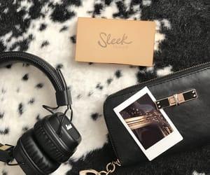 black, makeup, and polaroid image