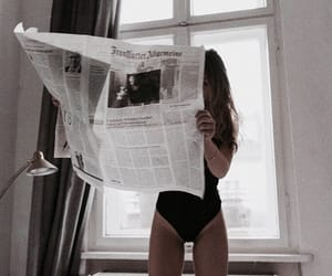 girl, newspaper, and woman image
