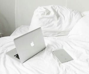 white, apple, and bed image