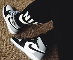 black, sneakers, and white image