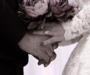balck & white, bride, and wedding image