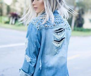 blonde, denim jacket, and fashion image