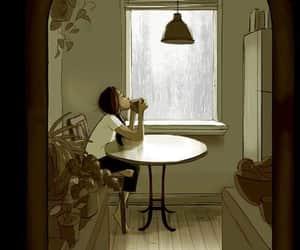 rain, girl, and coffee image