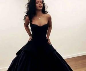 rihanna, dress, and black image
