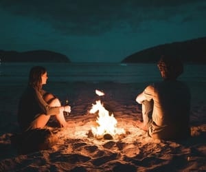 beach, photography, and bonfire image