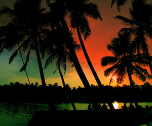 sunset, beach, and colors image