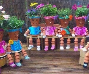 flowers, garden, and pots image