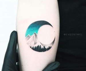 tattoo, moon, and mountains image