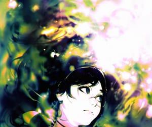 anime girl, green, and lake image