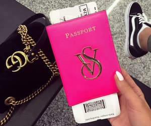 gucci, passport, and pink image