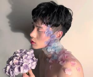 ulzzang, boy, and flowers image