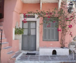 pink, house, and flowers image