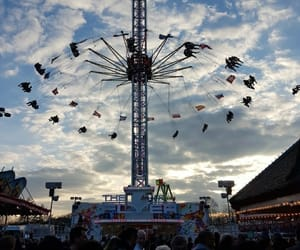 funfair, sunset, and kirmes image