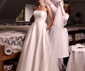 strapless wedding dress and satin wedding dress image